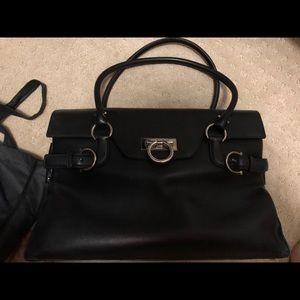 5e40c12414 salvatore ferragamo black leather satchel bag